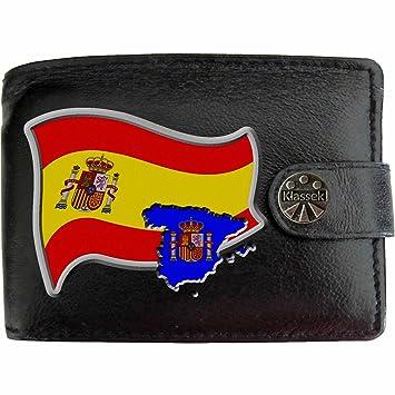 beau lustre ordre vente chaude pas cher Espagne Drapeau Carte KLASSEK Portefeuille Homme Porte Monnaie. Espagnol  Armoiries Cuir Noir Véritable Espana Cadeau Présente Avec Boîte en Métal