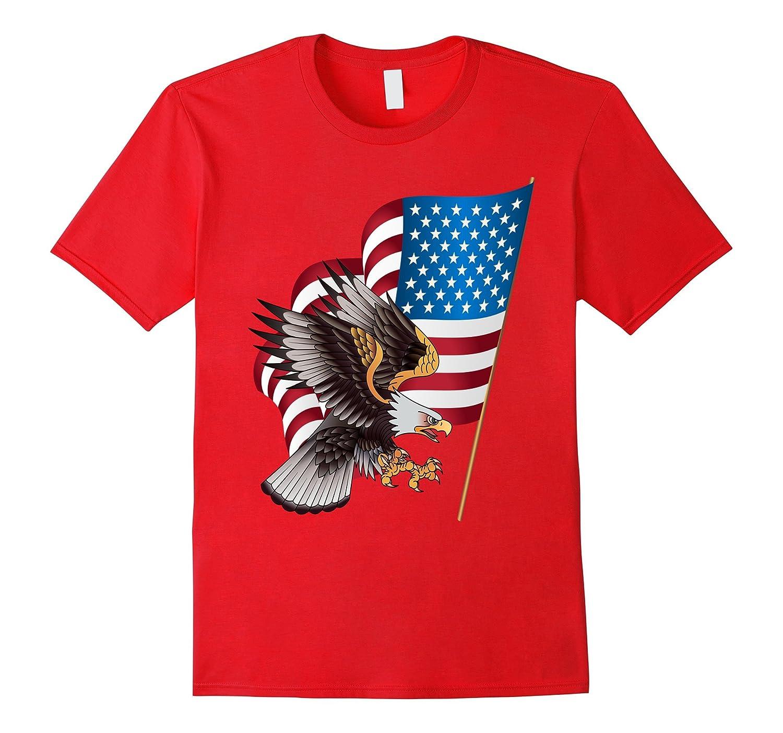 4th of July Shirt USA American Flag Bald Eagle Military-PL