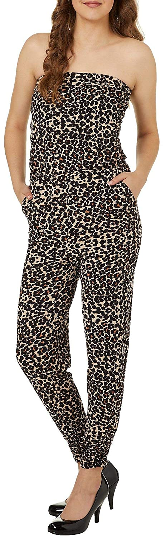 Almost Famous Juniors Leopard Print Strapless Jumpsuit Small Brown//Black