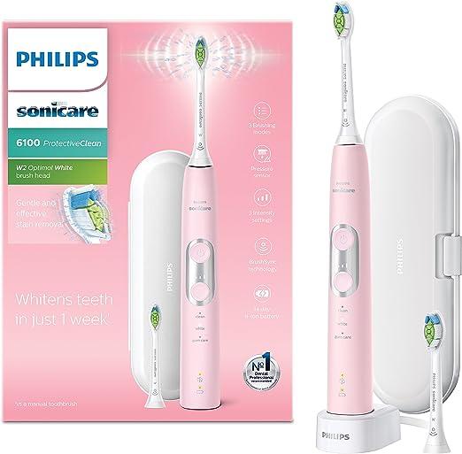 Philips HX6876/29 cepillo eléctrico para dientes Adulto Cepillo dental sónico Rosa, Blanco - Cepillo de dientes eléctrico (Batería, Integrado, Ión de litio, 110-220 V, 1 pieza(s), 2 pieza(s)): Amazon.es: Hogar