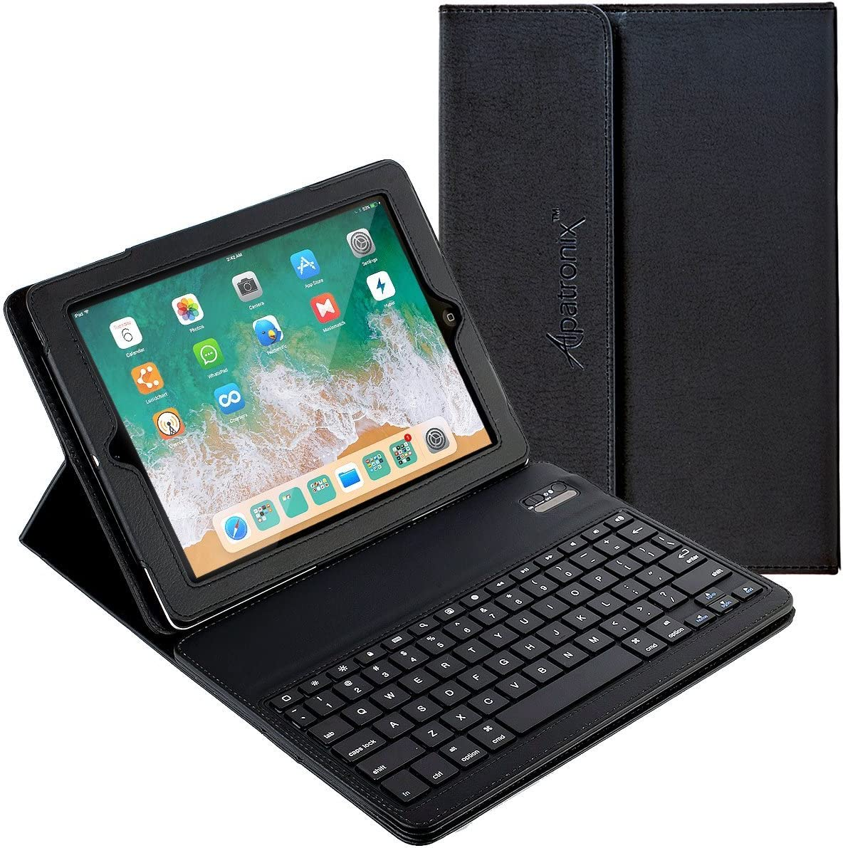 Amazon Com Alpatronix Kx100 Leather Folio Case With Removable Magnetic Bluetooth Wireless Qwerty Keyboard With Stand Auto Wake Sleep Function Compatible For Ipad 2 3 4 Black Computers Accessories