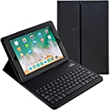 "iPad Pro 10.5 Keyboard + Leather Case, Alpatronix KX150 10.5"" Bluetooth iPad Keyboard Folio Smart Case w/ Removable Wireless Keyboard Cover & Built-in Tablet Stand for 2017 iPad Pro 10.5-inch - Black"