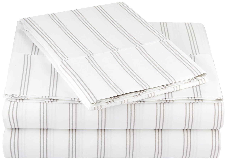 AmazonBasics Light-Weight Microfiber Sheet Set - Twin XL, Taupe Stripe