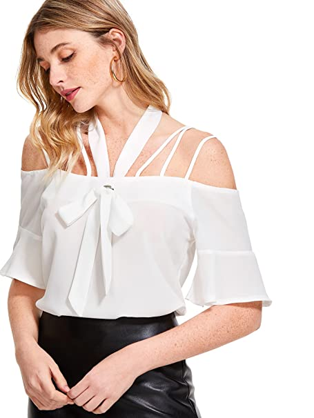 1d7ab3adab90f WDIRARA Women s Summer Spaghetti Strap Top Cold Shoulder Strappy Halter  Blouse at Amazon Women s Clothing store