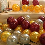 Theme My Party Latex Metallic HD Balloons (Golden/Silver & Brown_Pack of 50)