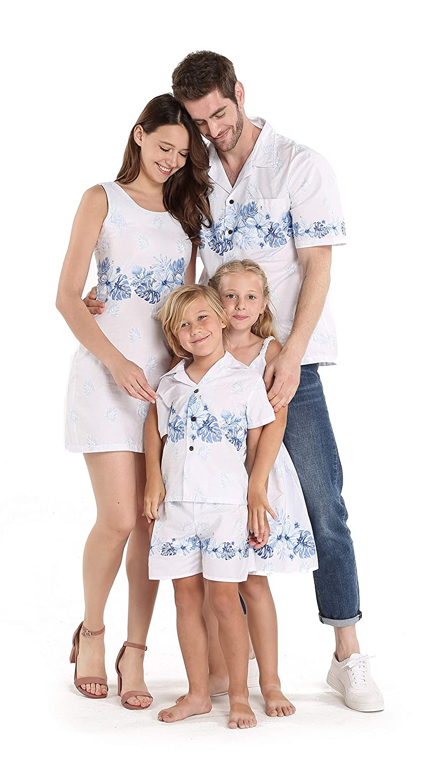 Matching Father Son Hawaiian Luau Outfit Men Shirt Boy Shirt Shorts White with Blue Hibiscus