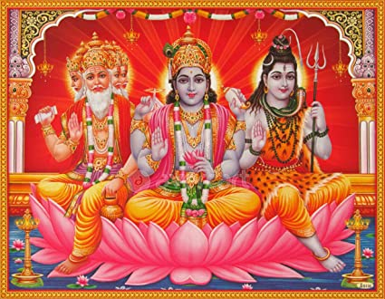 Array - lord vishnu lord brahma and lord shiva   brahma vishnu mahesh      rh   amazon in