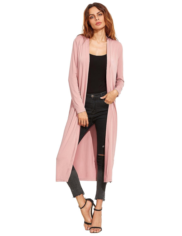Amazon.com: Verdusa Women's Long Sleeve Open Front Long Maxi ...