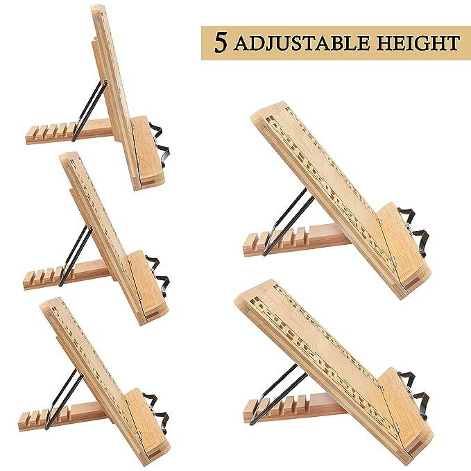 Atril para libros - Plegable Bambú soporte (33.5cm x 24cm) para Lectura Atril 5 Alturas Ajustables - Atril lectura para Libros, Notas Musicales,Leer, ...