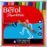 Berol Color Brush Pen witn 1.5 mm Nib - Pack of 12, Assorted Colours