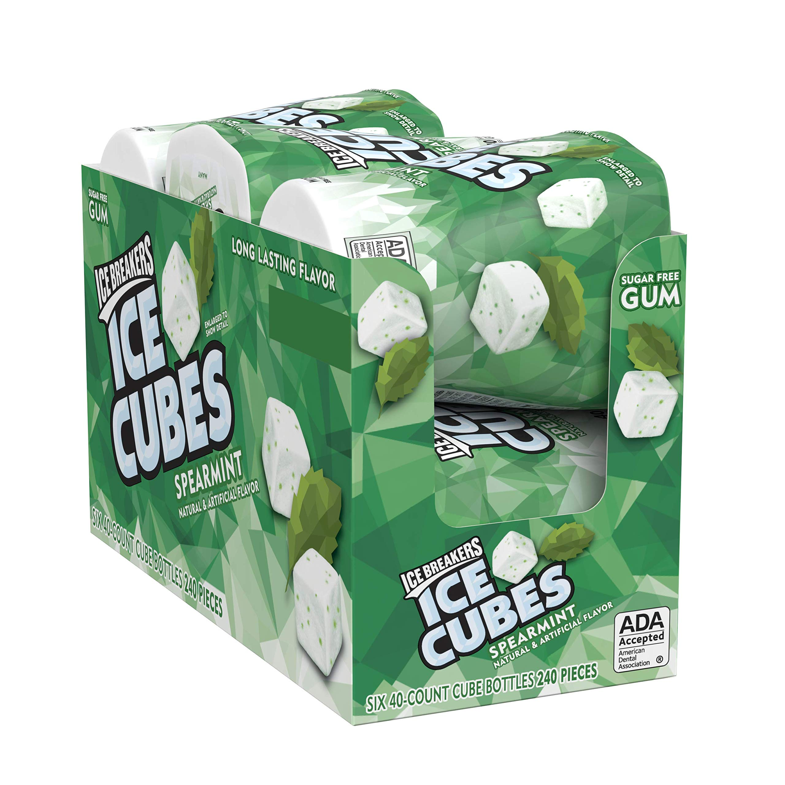 Ice Breakers Ice Cubes Sugar Free Gum with Xylitol, Spearmint, 40 Count, Pack of 6 by Ice Breakers