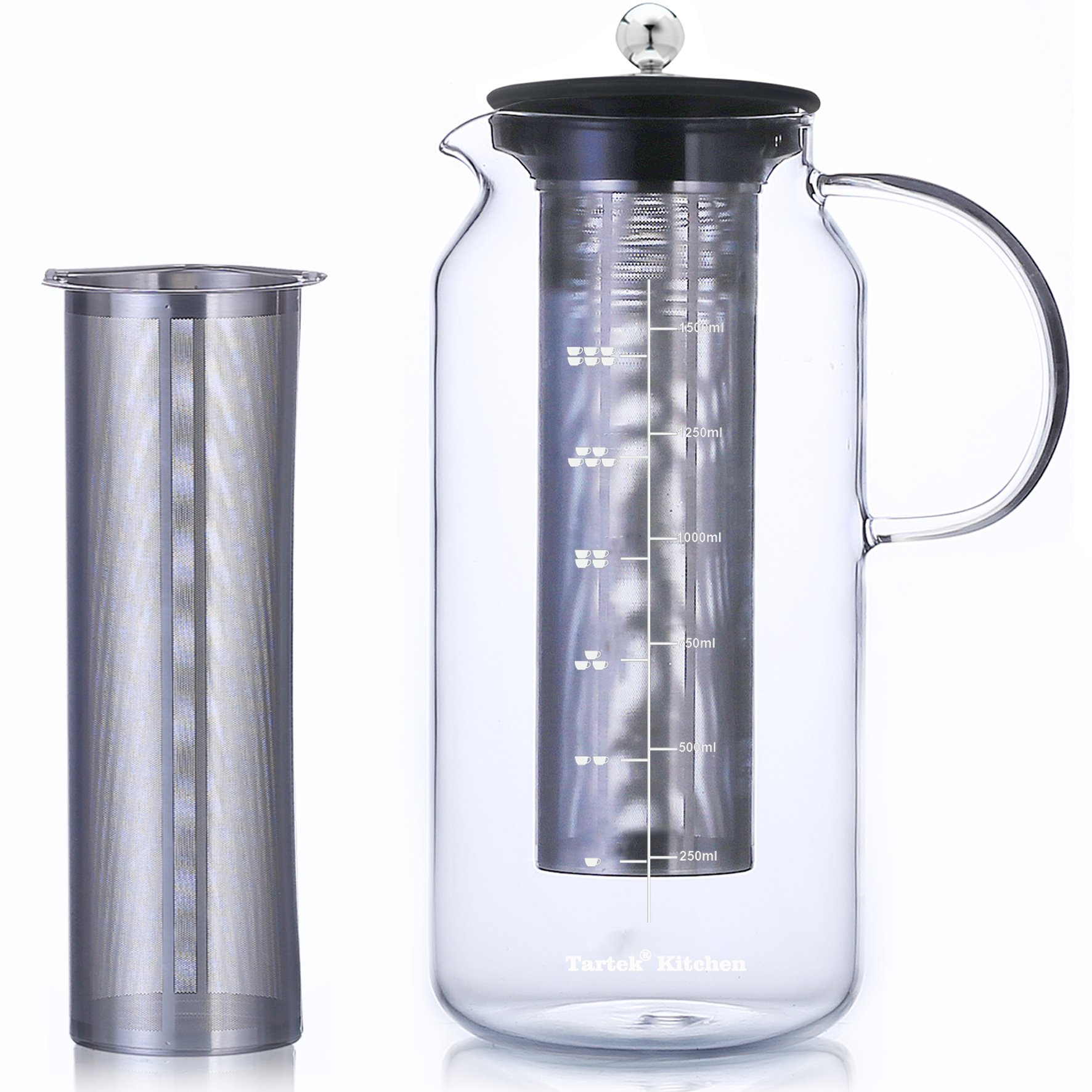 Large Glass Teapot with Infuser & Cold Brew Iced Coffee Maker -50oz/1.5L - Glass Pitcher with Removable Stainless Steel Filter - Stovetop & Freezer Safe - Coffee & Tea Brew Recipe Includ by Tartek