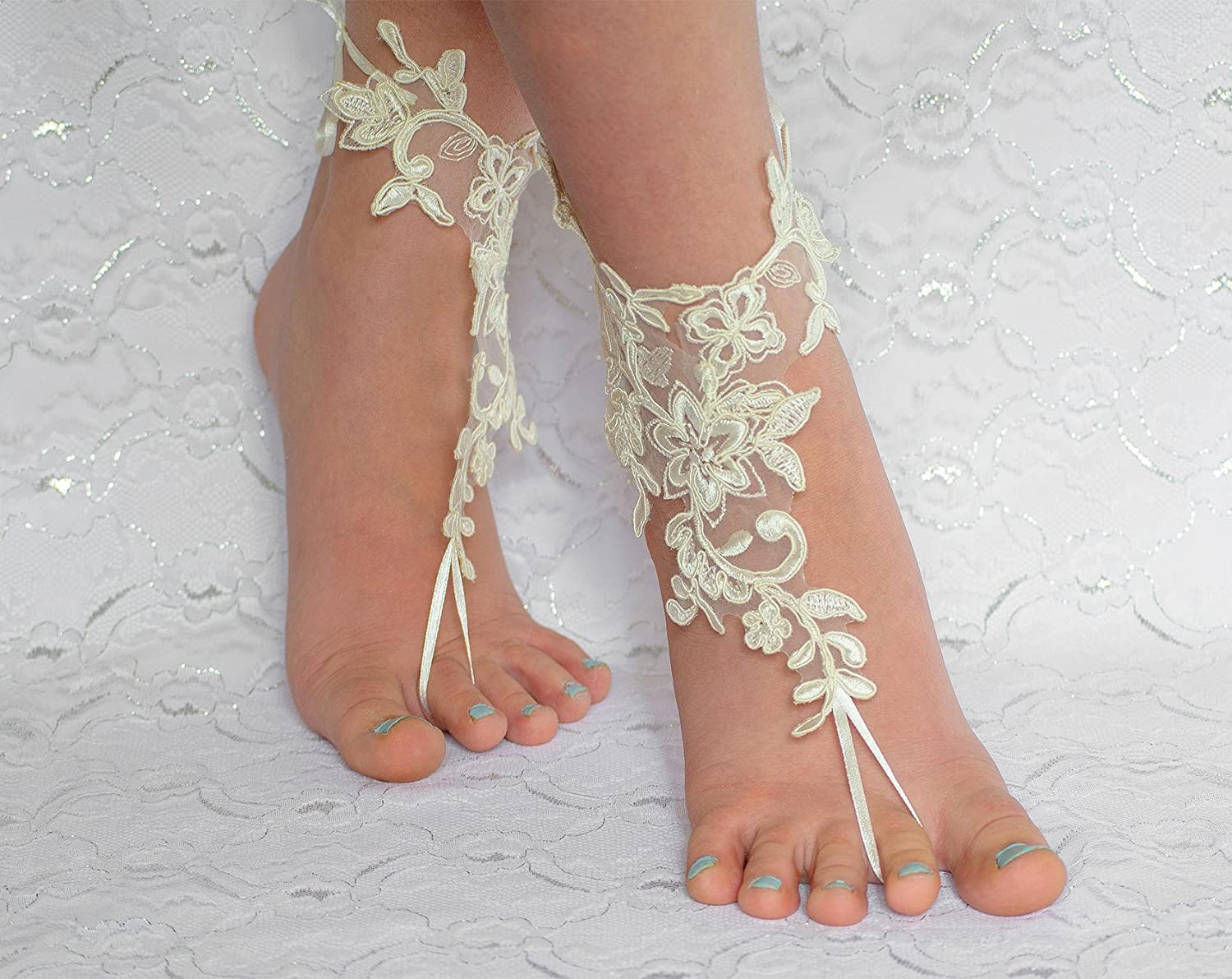 f0149043074e9 Ivory Barefoot Sandals Beach Wedding Shoes Wedding Accessories