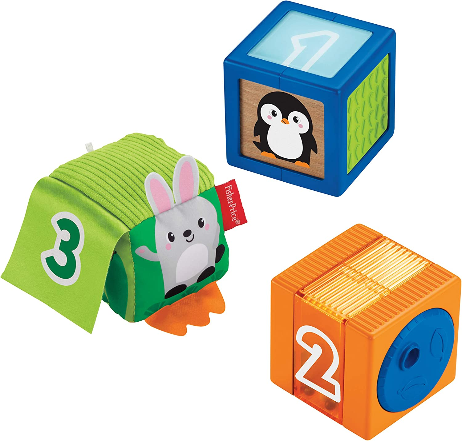 Fisher-Price Stack & Discover Sensory Blocks, 3 Colorful Baby Toys