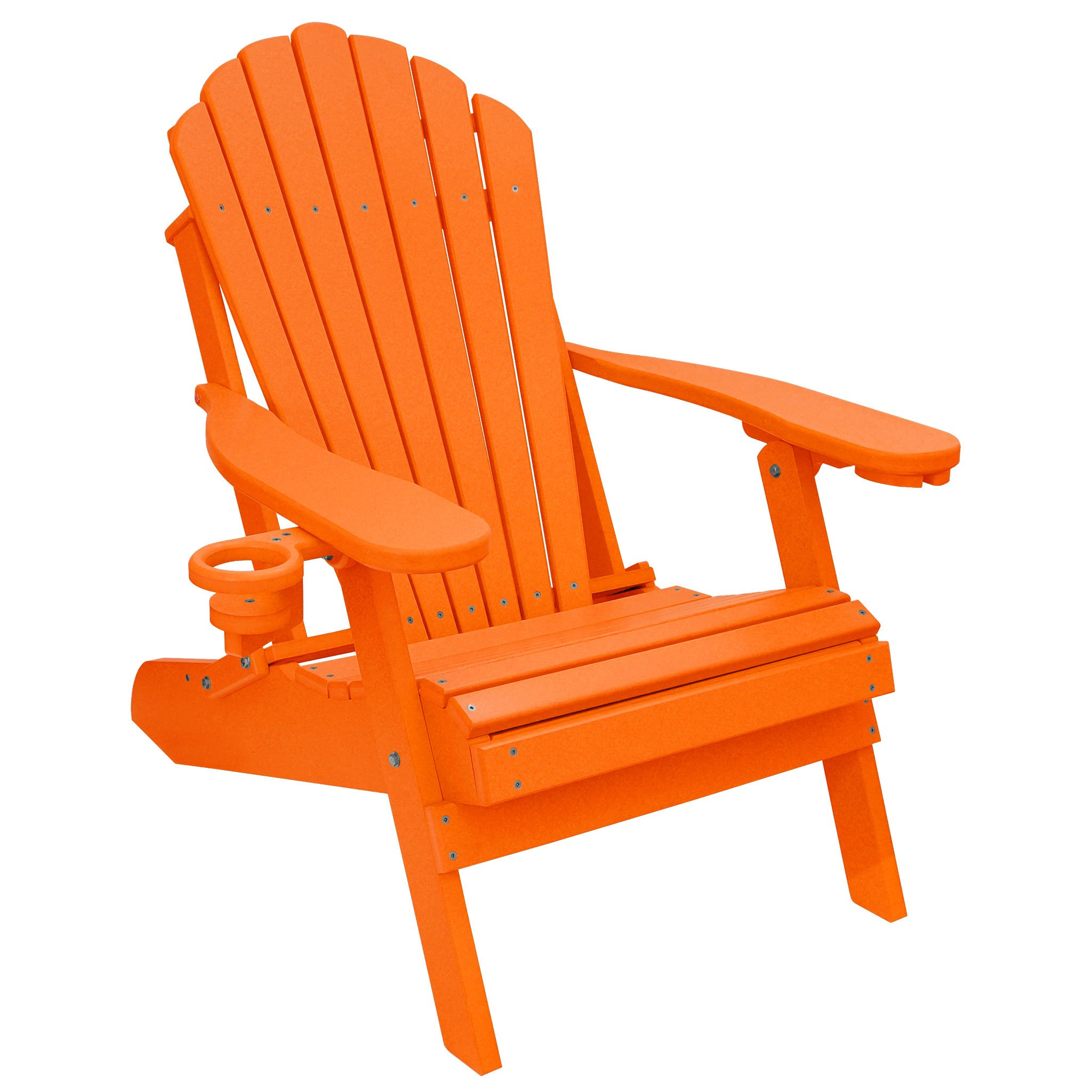 ECCB Outdoor Outer Banks Deluxe Oversized Poly Lumber Folding Adirondack Chair (Bright Orange) by ECCB Outdoor