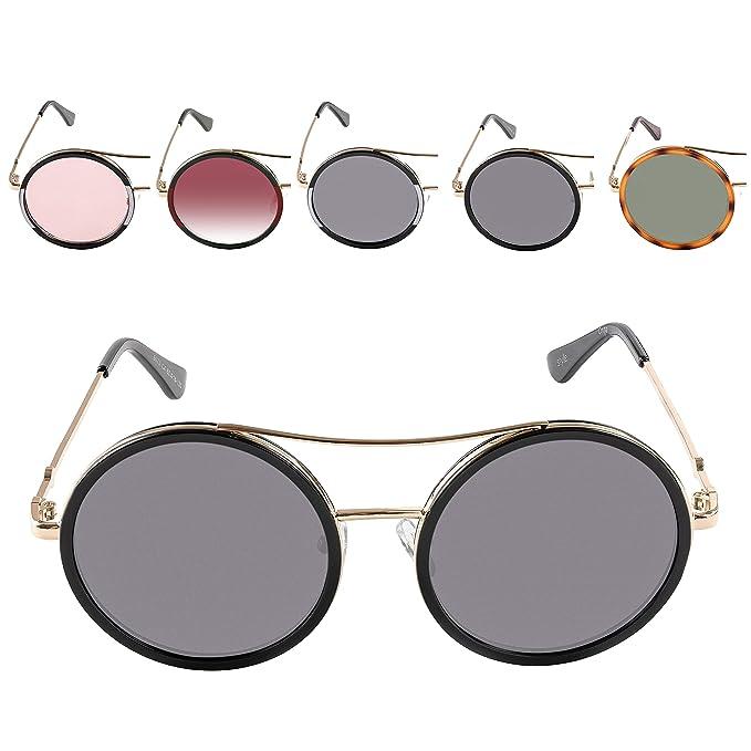 Amazon.com: Gafas de sol redondas de doble puente para mujer ...