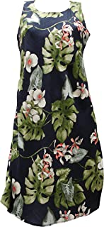 product image for Paradise Found Womens Monstera Orchid Short Tank Dress Navy Blue XL