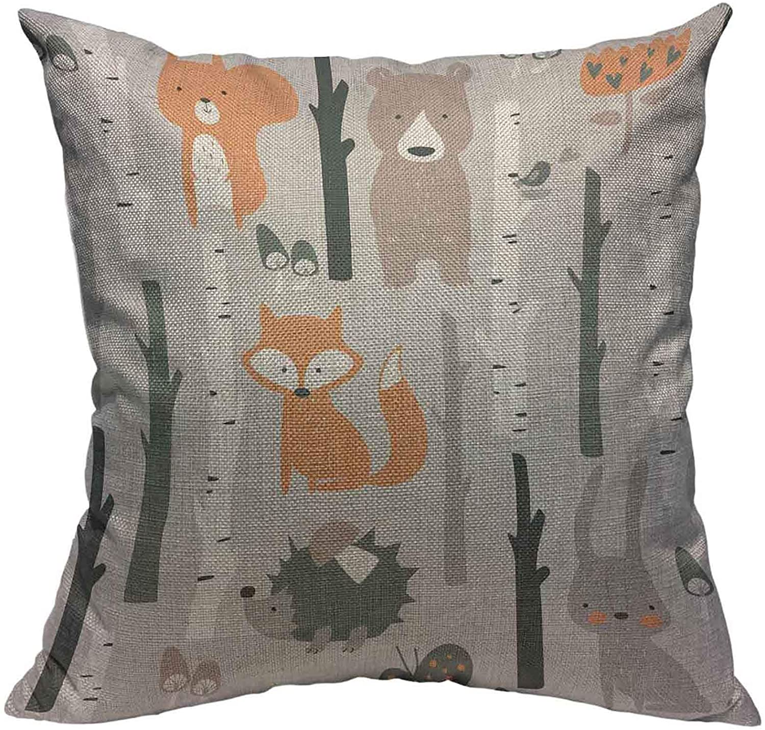 Throw Pillow Cover Cute Forest Animal Cotton Linen Square Pillowcases Fox Bear Bunny Elk Hedgehog Bird Mushroom Tree cartoon Green Black Grey Tree Modern Cushion Cover Home Decor 18 X 18 Inch
