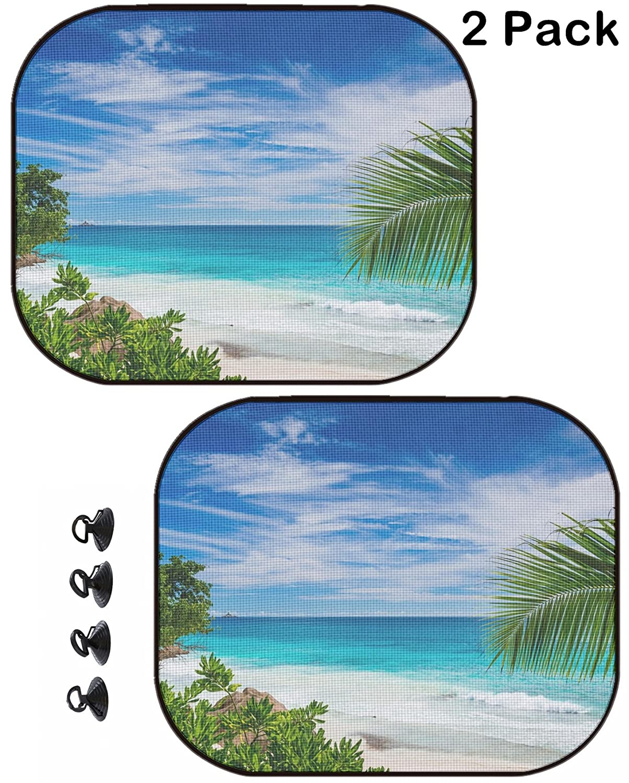 New Palm Tree Beach Blue Ocean Car Truck Windshield Folding Sun Shade Large Size