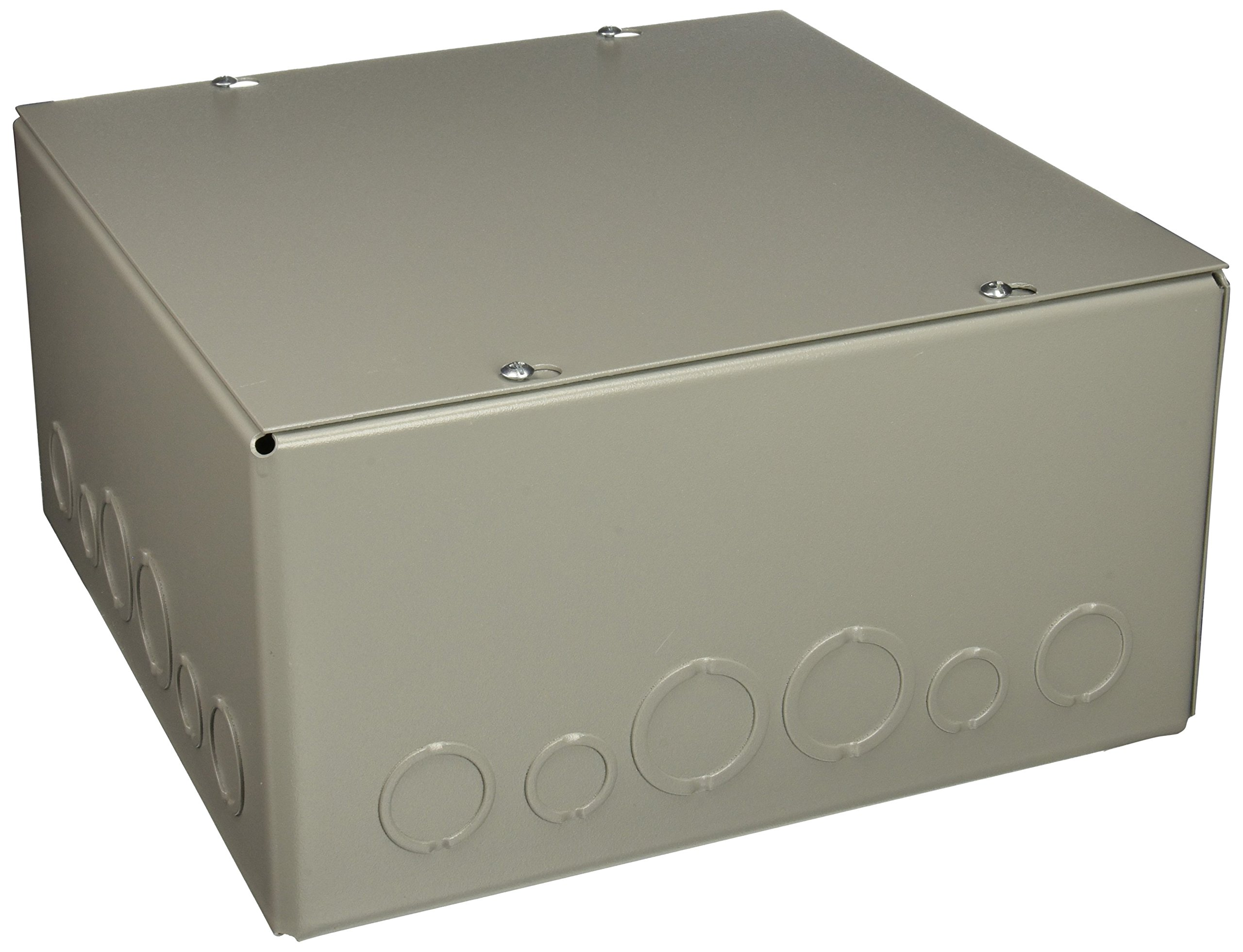 Wiegmann SC121206 SC-Series NEMA 1 Screw Cover Wallmount Pull Box with Knockouts, Painted Steel, 12'' x 12'' x 6''