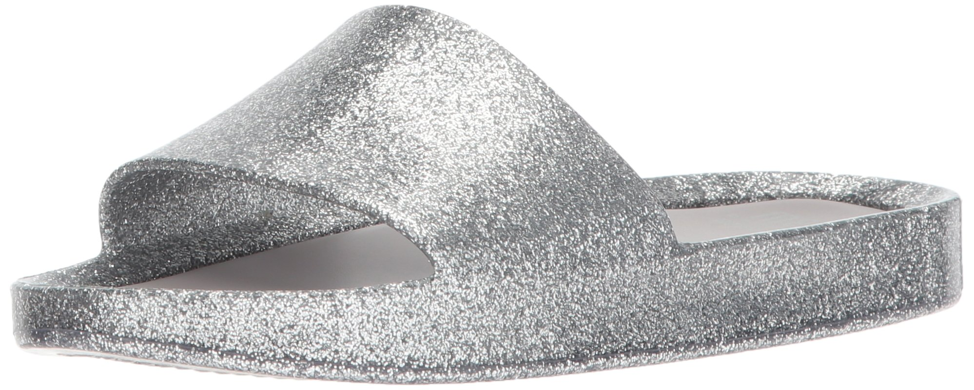 Mini Melissa Girls' Mel Beach Slide Flat Sandal, Silver Glass Glitter, 12 Regular US Little Kid