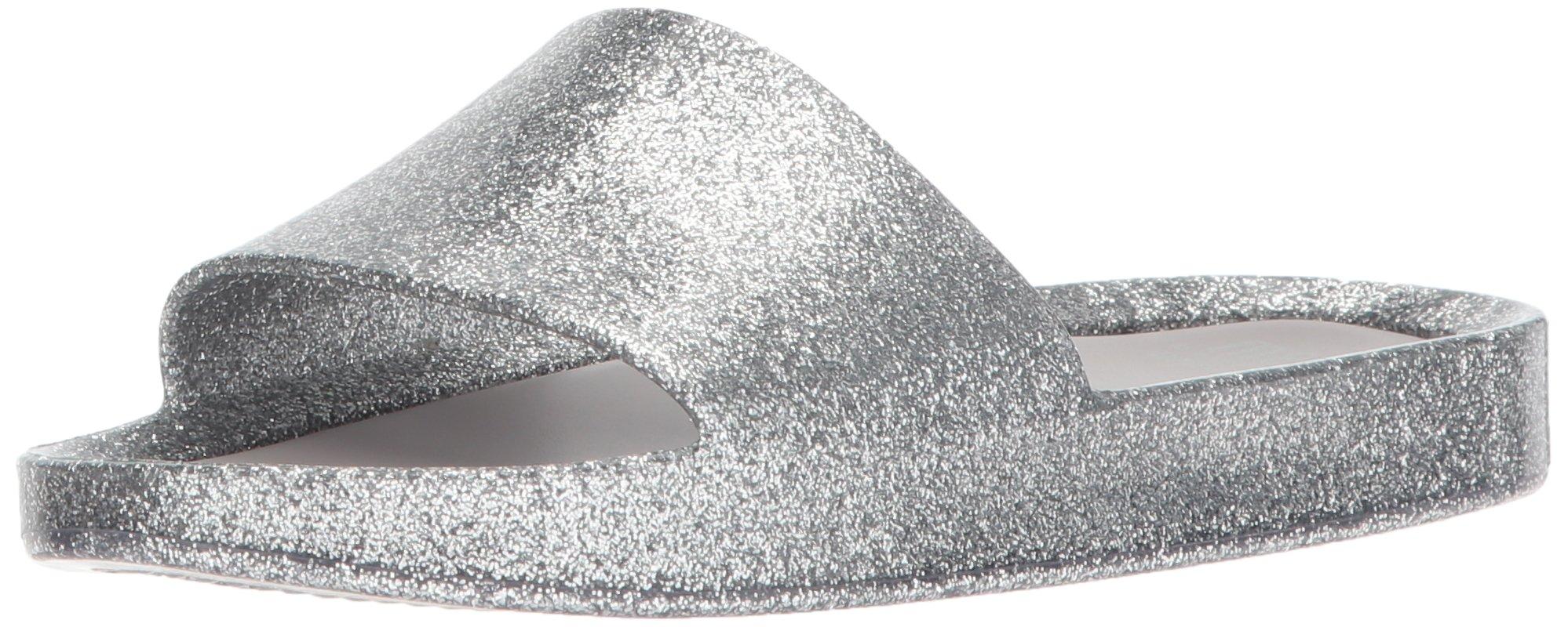 Mini Melissa Girls' Mel Beach Slide Flat Sandal, Silver Glass Glitter, 2 Regular US Little Kid