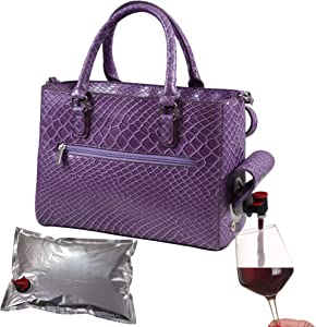 Primeware Insulated Purse w/ 3L Bladder Bag | Thermal Hot and Cold Storage | Portable Drinking Dispenser for Wine, Cocktails, Beer, Alcohol | PU Leather Finish