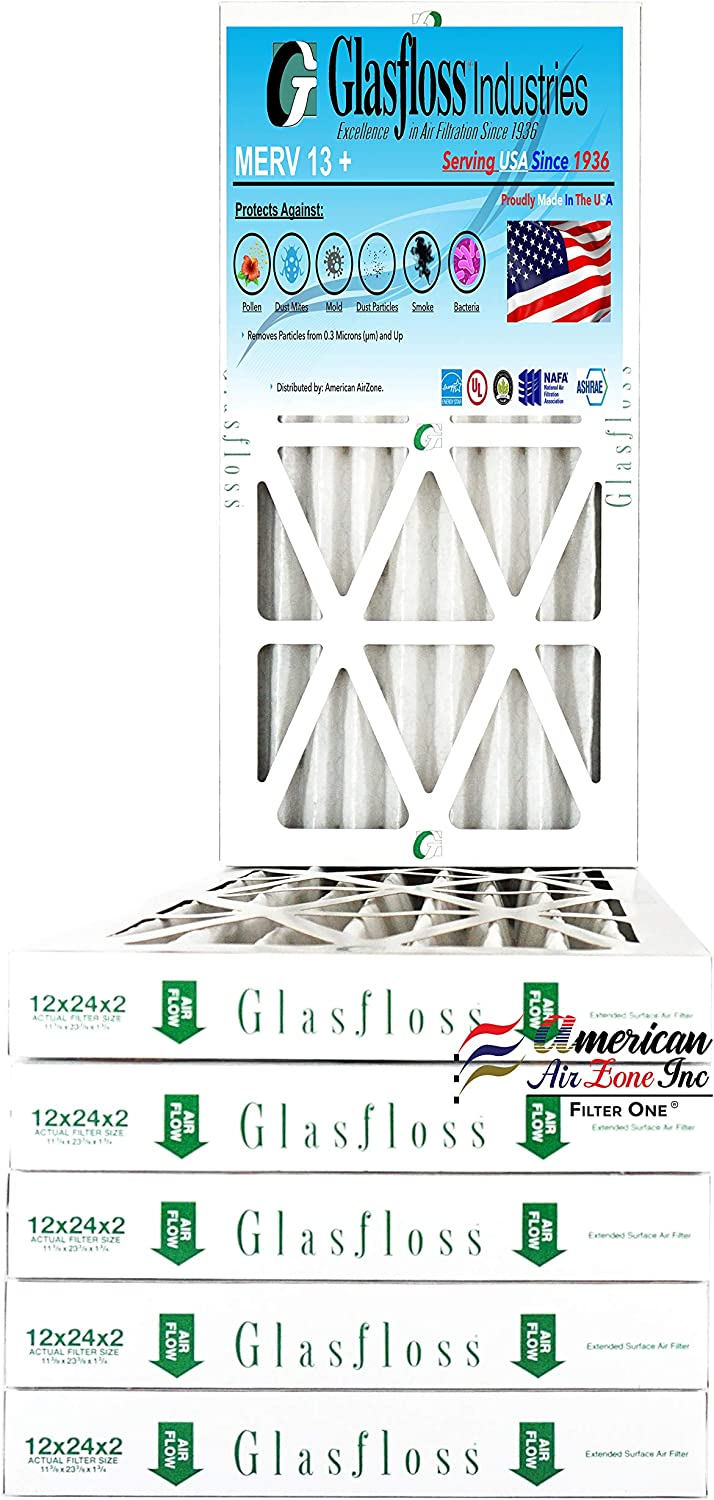 For Home or Office - AC or HVAC Pleated Air Filter Furnace Air Filter Made In The USA Glasfloss 20x25x2-2 Inch MERV 13 - Pack of 6