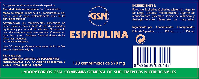 ESPIRULINA 300 mg 120 Comp: Amazon.es: Salud y cuidado personal