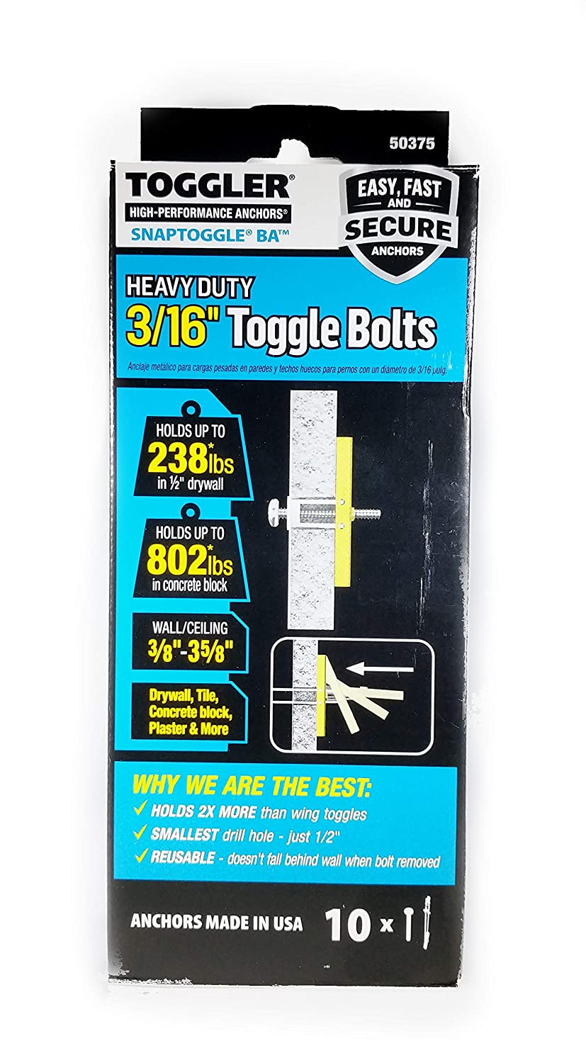 Screws Included TOGGLER 2-Pack Assorted Length x 1//4-in Dia Toggle Bolt Drywall Anchor