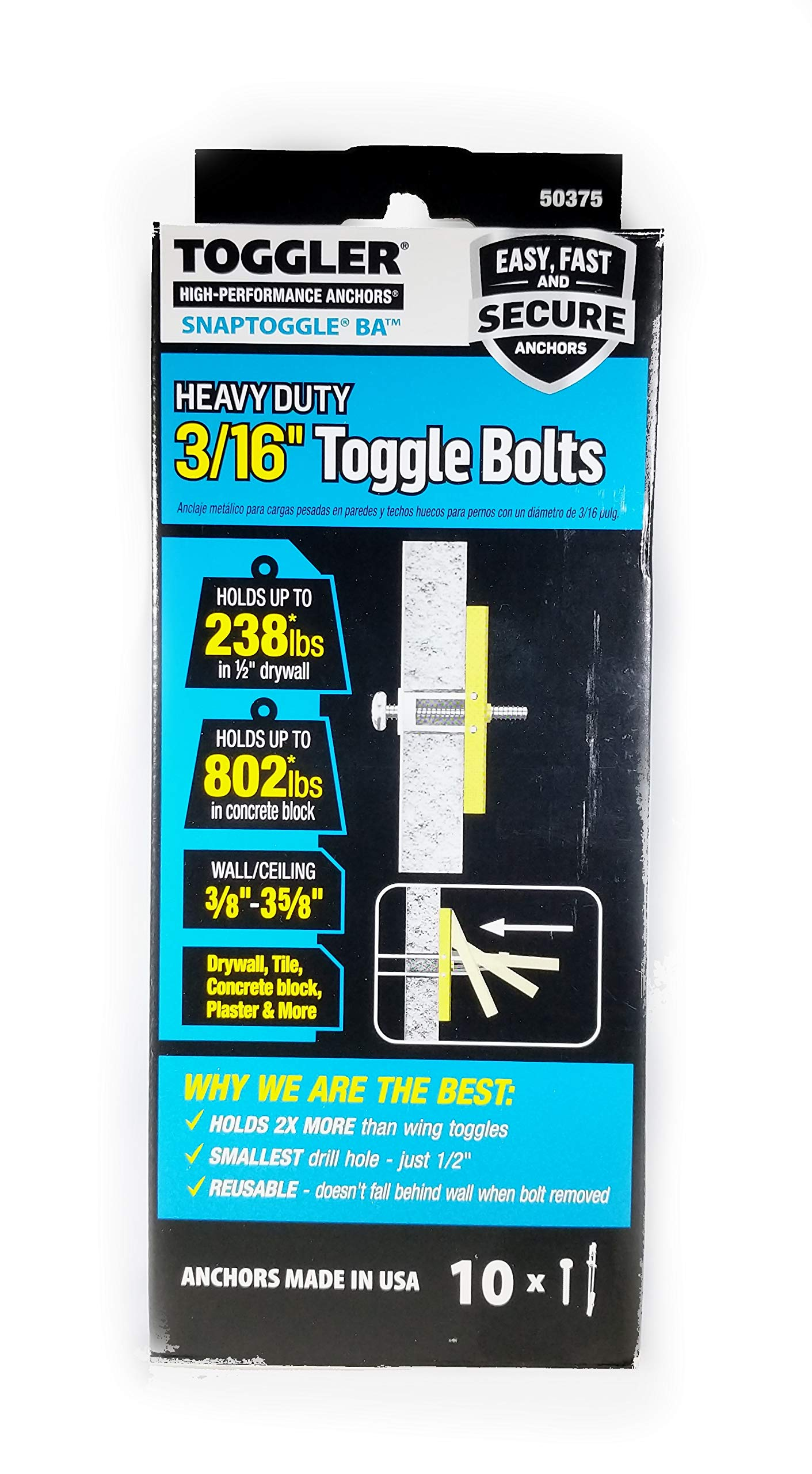 """TOGGLER SNAPTOGGLE BA Toggle Anchor with Bolts, Zinc-Plated Steel Channel, Made in US, 3/8"""" to 3-5/8"""" Grip Range, For 3/16""""-24 UNC Fastener Size (Pack of 10)"""
