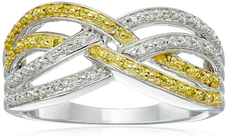 Sterling Silver Diamond Crisscross Ring (1/7 cttw, J-K Color, I2-I3 Clarity)