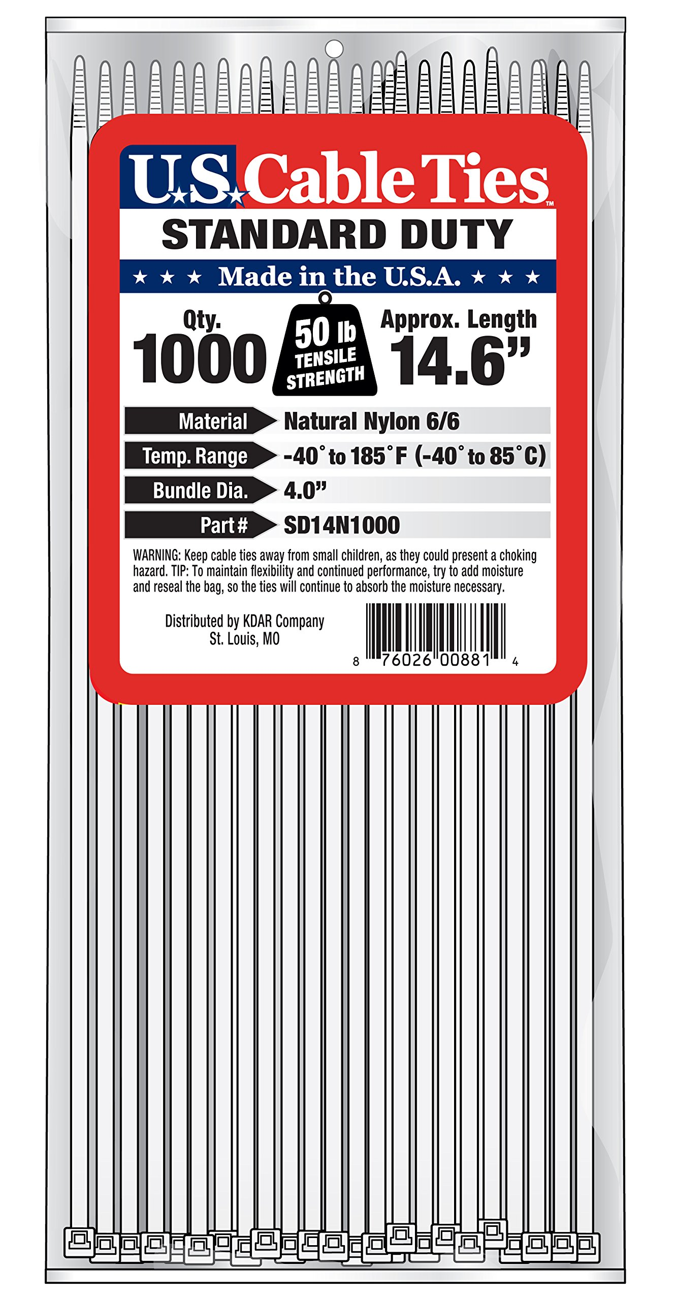 US Cable Ties SD14N1000 14-Inch Standard Duty Cable Ties, Natural, 1000-Pack