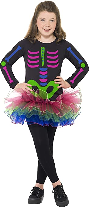 Children/'s Pink Skeleton with Tutu Fancy Dress Costume Halloween Aged 9-10
