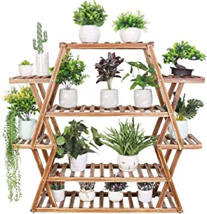 Large Plant Stand Multi Tier Wooden Plant Shelf 6 Tier 17 Potted Display Rack for Indoor Outdoor Large Small Plants Succulents Flowers Patio Balcony Garden