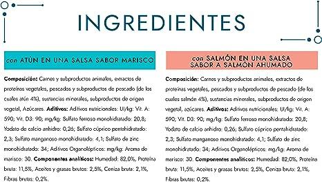 Purina Gourmet Perle Delicias en Salsa comida para gato con Salmon y Atun 12 x [4 x 85 g]