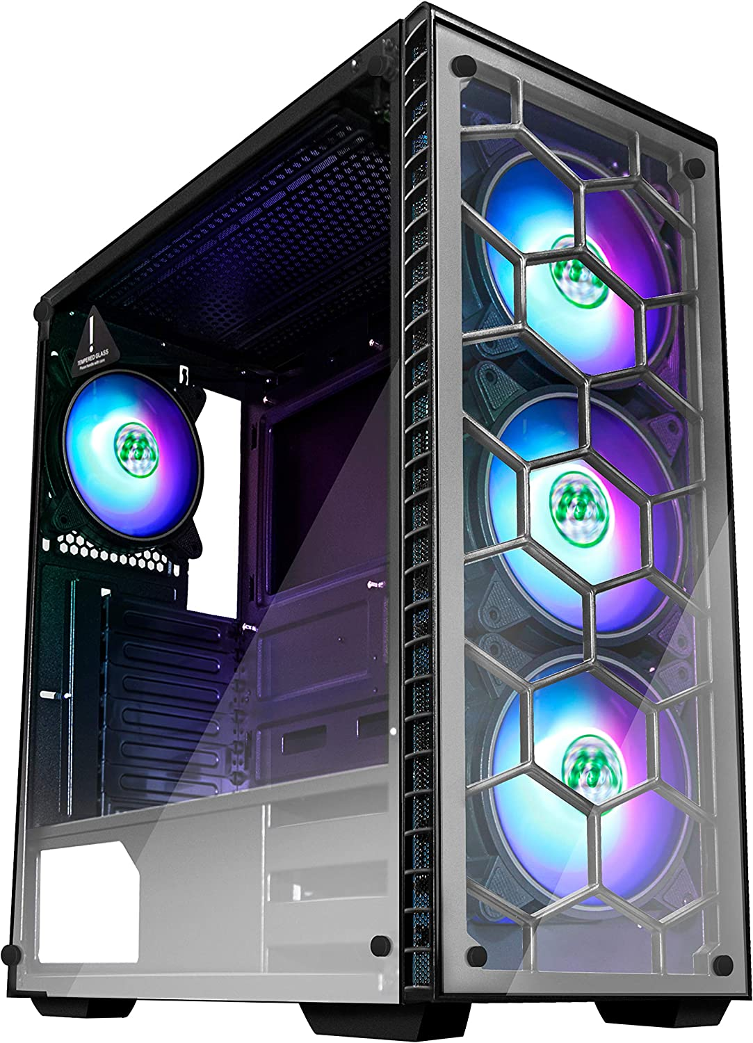 MUSETEX ATX Mid Tower Gaming Computer Case 4 RGB LED Fans,Up to 6 Fans, 2 Translucent Tempered Glass Panels USB 3.0 Port,Cable Management/Airflow, Gaming Style Window Case (903N4)