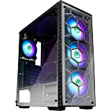 MUSETEX ATX Mid Tower Gaming Computer Case 4 RGB LED Fans,Up to 6 Fans