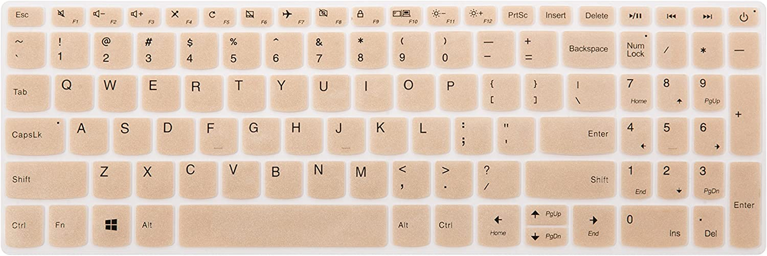 "Keyboard Cover for Lenovo Yoga C740 C940 15, ThinkBook 15, ideapad 320 330 15.6/17.3, ideapad 3 330s 15.6/17.3, ideapad 520/S145 S340 S540 S740 15.6"", ideapad L340 15.6/17.3"" Laptop - Gold"