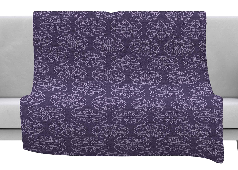 Kess InHouse Mydeas Scroll Damask Purple Lavender Vector Throw 80 x 60 Fleece Blanket