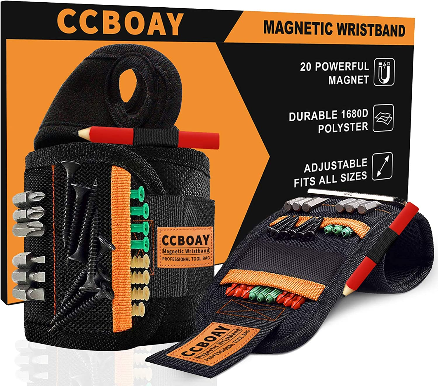 Gadgets for Men Women Perfect Tool Gifts for Him Repairman Gifts for DIY Handyman Carpenter Boyfriend Husband Mens Dad CCOBAY Magnetic Wristband with 20 Strong Magnetic for Holding Screws