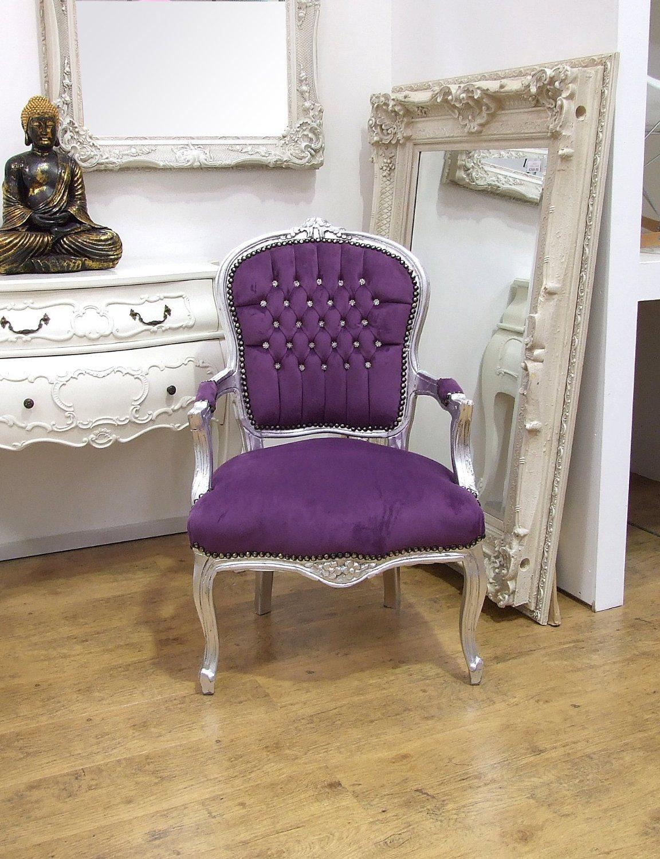 Bon VintageVibe Louis Purple   Purple Velvet Louis Style Salon Chair:  Amazon.co.uk: Kitchen U0026 Home