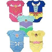 Disney Princess Baby Girls' 5 Pack Bodysuits Belle Cinderella Snow White Aurora, 18 Months