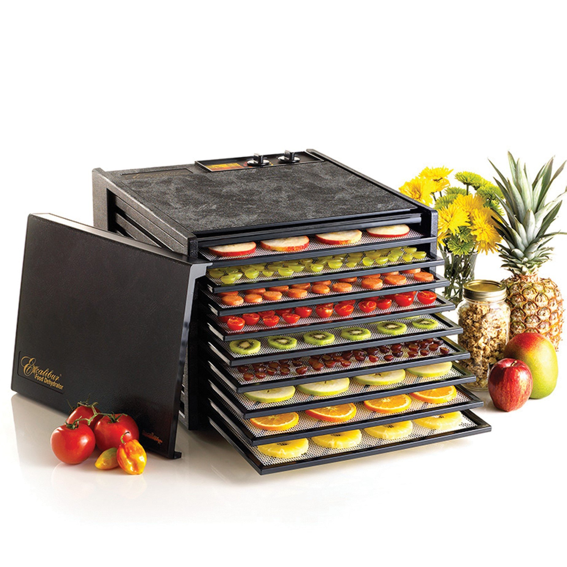 Excalibur 3926TB Food Dehydrator with 26hr Timer, Solid Door, Black