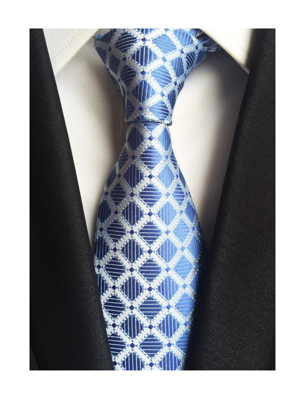 Men's Silver Blue Ties Diamond Gingham Narrow-width Wedding Neckties for Grooms