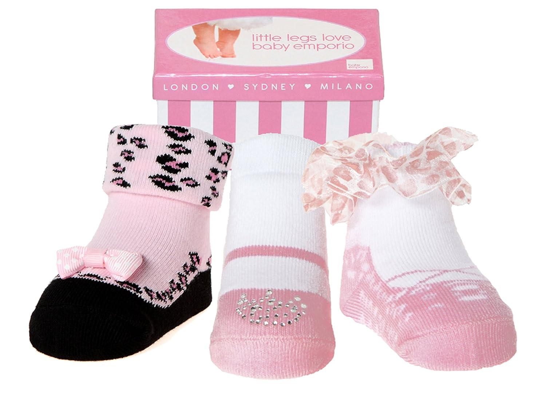 Baby Mädchen Socken die wie Schuhe aussehen tanz 3 Paar-Weiche Baumwolle-Neuborenes Geschenk Baby Emporio