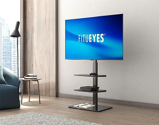FITUEYES Soporte TV Suelo de 32 a 60 Pulgadas con 3 Estantes Soporte Giratorio TV Plana Curva Altura Ajustable Gestión de Cables MAX VESA 600 x 400 mm: Amazon.es: Electrónica