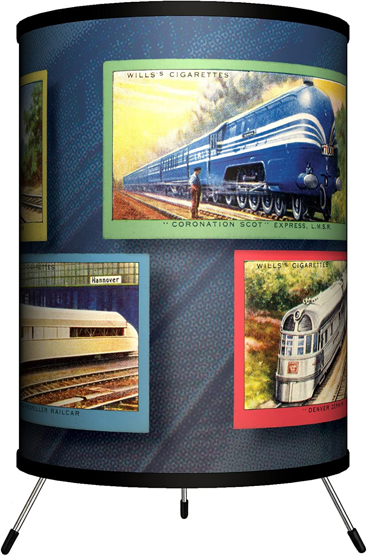 Lamp-In-A-Box TRI-TTN-VTRAI Transportation – Vintage Trains Tripod Lamp, 8 x 8 x 14