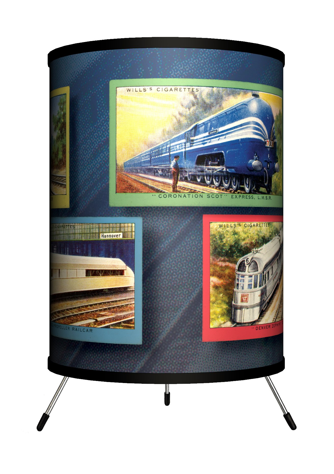 Lamp-In-A-Box TRI-TTN-VTRAI Transportation - Vintage Trains Tripod Lamp, 8'' x 8'' x 14'' by Lamp-In-A-Box