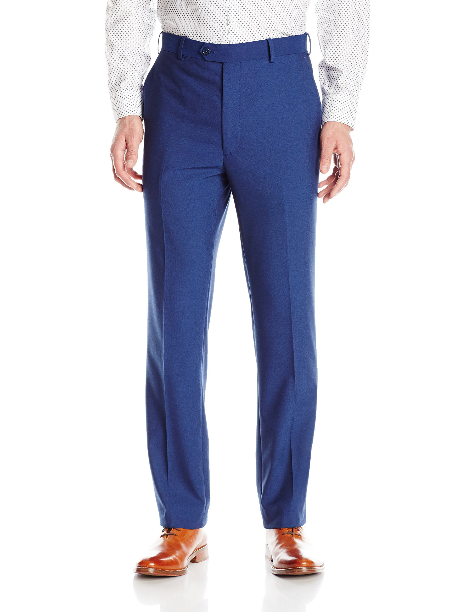 Adolfo Men's Micro Tech Slim Fit Flat Front Suit Pant, Blue with Lycra Stretch, 34Wx30L by Adolfo